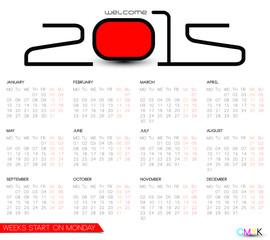 2015 monthly calendar, weeks start on Monday