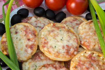 Mini pizza with tomatoes, green onions and olives