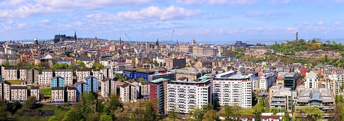 Panoramic view over Edinburgh Scotland from Arthurs Seat