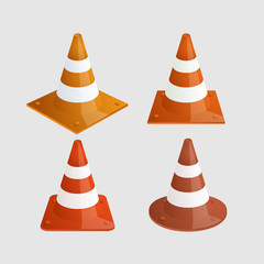 Vector modern traffic cones icons set