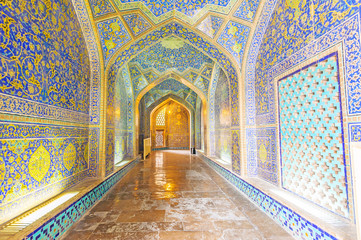 Interior and passage Sheikh Lotfollah Mosque in Isfahan, Iran