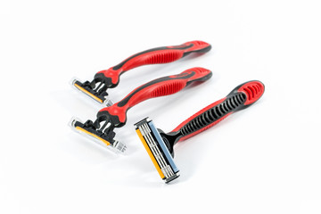 Three of shaving razor isolated
