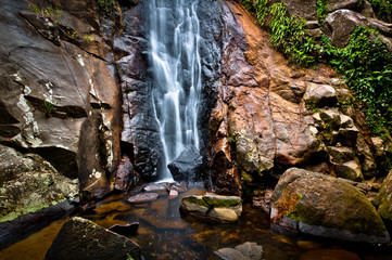 Small Waterfall in Tropical Rainforest in an Island