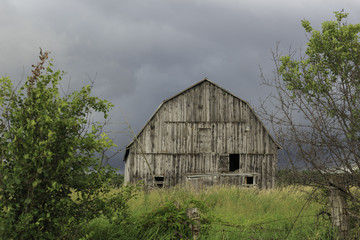 An abandoned wooden barn