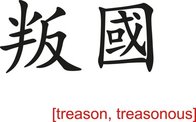 Chinese Sign for treason, treasonous