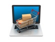 E-commerce. Shopping cart on laptop