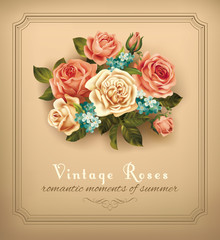 Vintage card with bouquet of roses. Vector