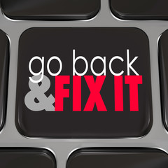 Go Back And Fix It Words Computer Keyboard Key Button