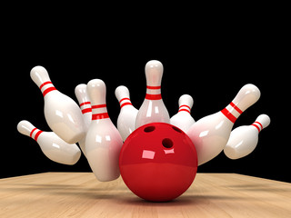 illustration of image of scattered skittle and bowling ball on w