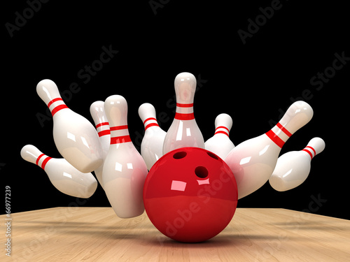 canvas print picture illustration of image of scattered skittle and bowling ball on w