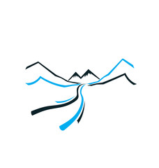 Road Mountain and Valley. Vector icon