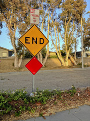 Dead End Sign in Soft Glowing Yellow Evening Light