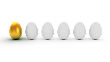 Golden Egg. Difference / uniqueness concept image