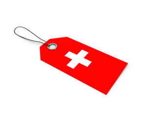Switzerland flag label / tag