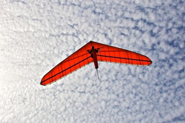 Hang gliding man on a white wing with sky in the background