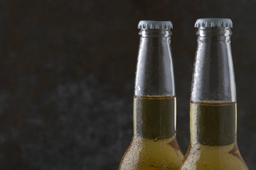 Two beer bottles on dark background with copy space