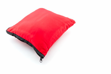 Red bright pillow with zipper.