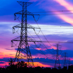 Electricity Pillars against colorful sunset