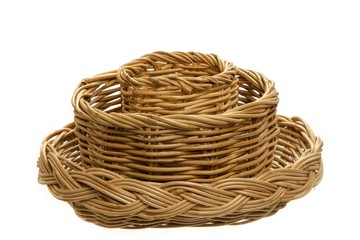 three difference size basket on a white background