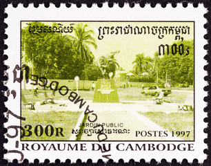 Statue at intersection of paths (Cambodia 1997)