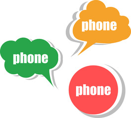 phone. Set of stickers, labels, tags. infographics