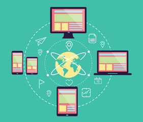 Responsive web design in electronic devices. flat design .vector