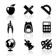 Black School Icons Set