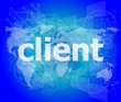 SEO web design concept: client on business digital background
