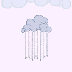 rain clouds with raindrops - vector illustration
