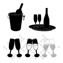 vector illustrations of champagne bottle in bucket and glasses o