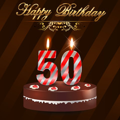50 year Happy Birthday Card with cake and candles