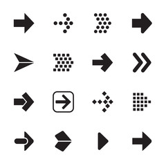 Arrow sign icon set isolated on white background.