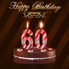 60 year Happy Birthday Card with cake and candles