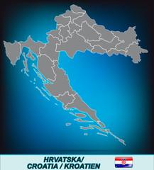 Karte von Kroatien in leuchtend blau