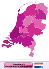 Karte der Niederlande mit Grenzen