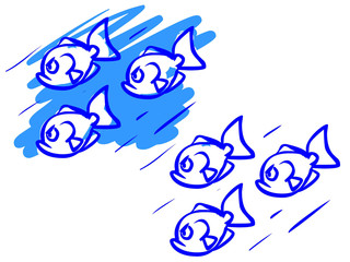 The illustration of a cartoon flock of fishes.