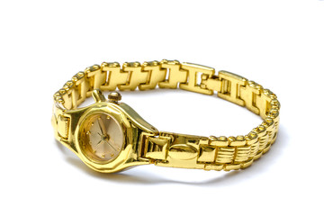 Woman golden wrist watch