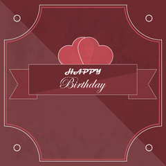 Happy birthday card in retro style with hearts