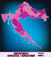 Grenzkarte von Kroatien