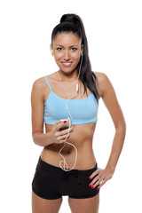 Fit Woman on With  Earphones