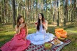 Two beautiful woman at picnic in forest