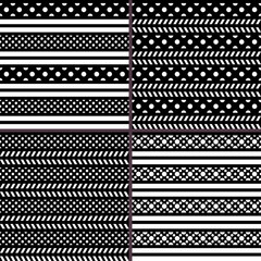 black and white polka dot horizontal striped patterns