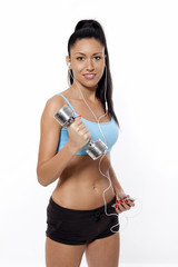 Fit Woman on With Dumbell