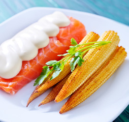 salmon with corn