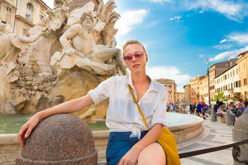 Tourist on Navona square in Rome.