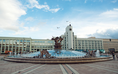 The fountain in the square in Minsk. Belarus.