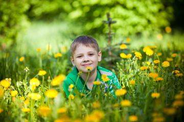 Мальчик лежит в траве среди цветов