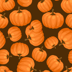 Seamless vector pattern with fresh ripe pumpkins.