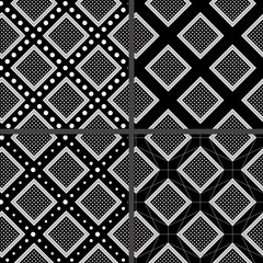 black and white rhombuses patterns