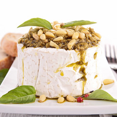cheese with pesto sauce